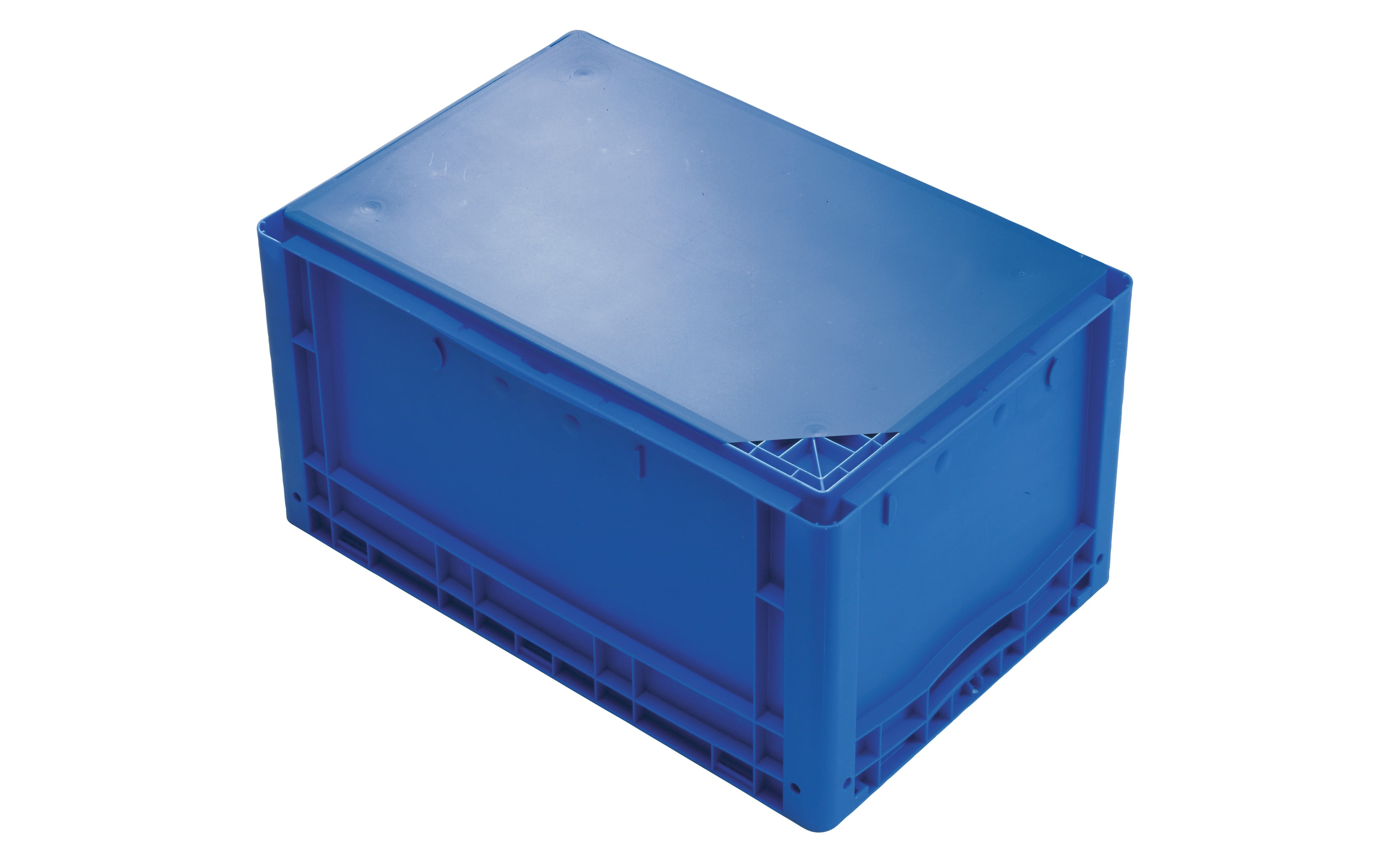 European size stacking containers XL with double base, solid sides, blue, IMG_18556