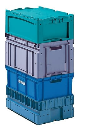Small parts containers KLT, blue, turquoise, IMG_18649