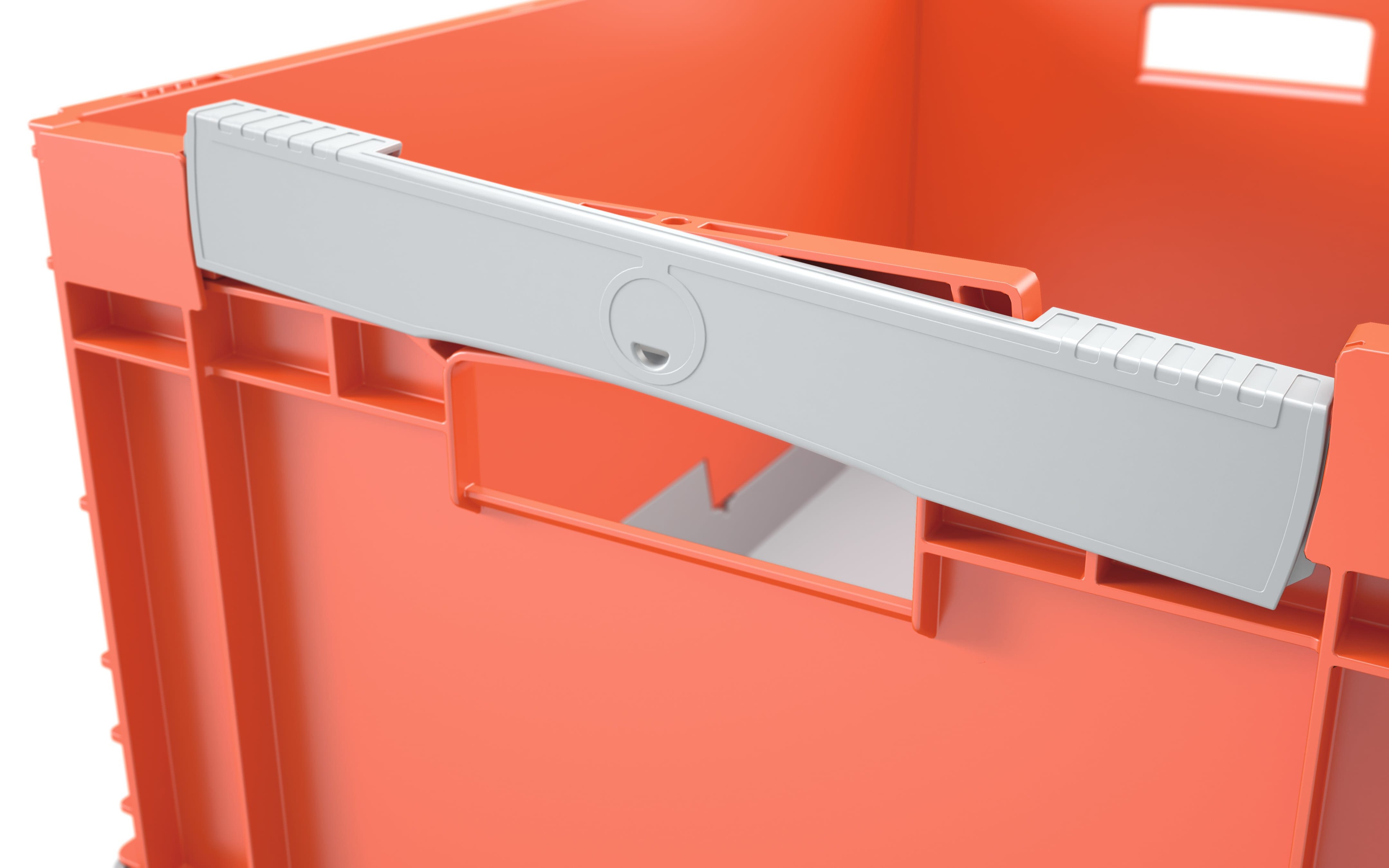 Pojemniki składane EQ, z otwartymi uchwytami, pomarańczowy/szary, IMG_133426