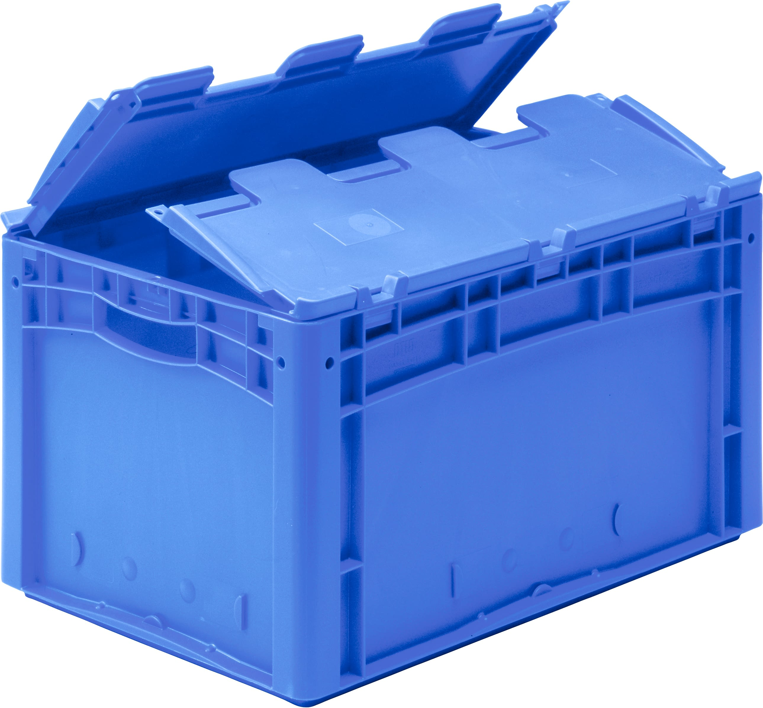 European size stacking containers XL, solid sides, open grips, hinged two part lid, strap-sealable, blue, 43-30406
