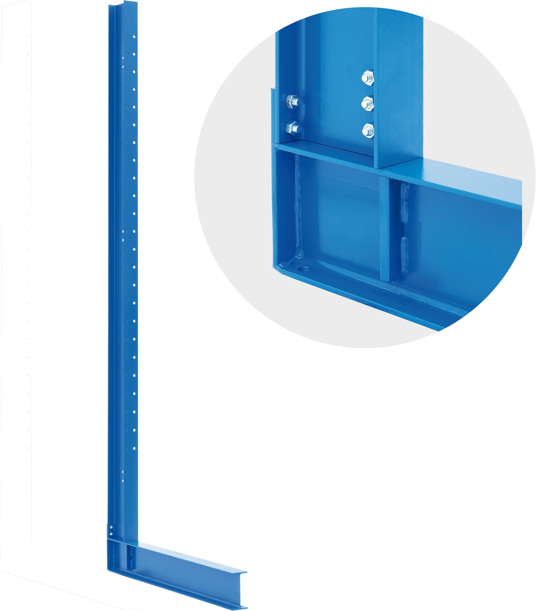 Cantilever racking columns, single sided use, blue, IMG_32800